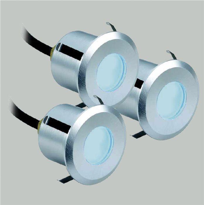 Lampenlux 3er SET LED Einbaustrahler Rimy Außenleuchte Spot Down Blau Trafo 230V
