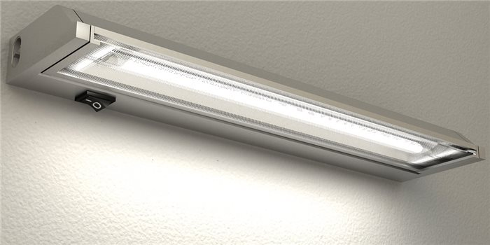 Lampenlux T5 Unterbauleuchte Ajax Unterbaulampe Küchenlampe Küchenleuchte Aufbauleuchte Aufbaulampe Schwenkbar Silber Stromkabel 120cm