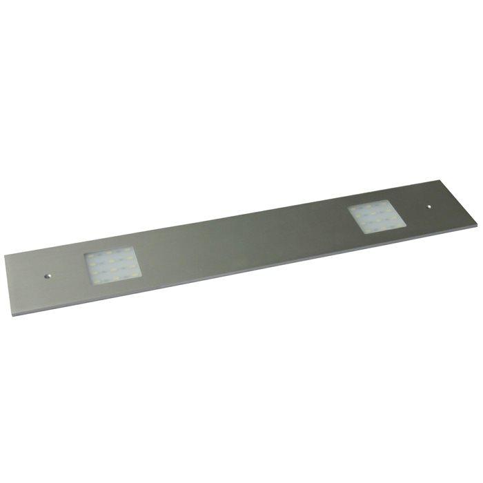 Lampenlux LED 3er SET Unterbauleuchte Midge Küchenleuchte Küchenlampe Aufbauleuchte Aufbaulampe sehr flach Aluminium 230V 3x10W Silber Länge 41cm 230V mit externen Trafo