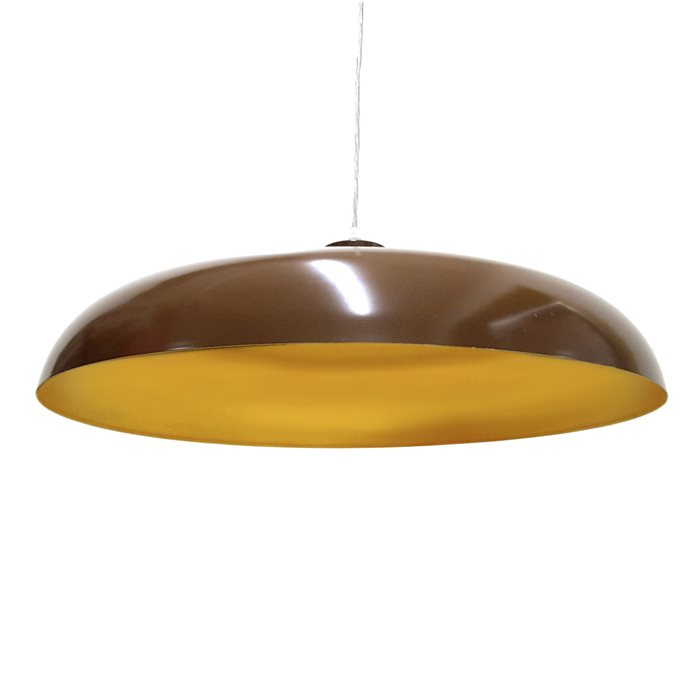 Lampenlux Pendellampe Pendelleuchte Doni Metallschirm E27 Braun / Mattgold mit LED Leuchtmittel