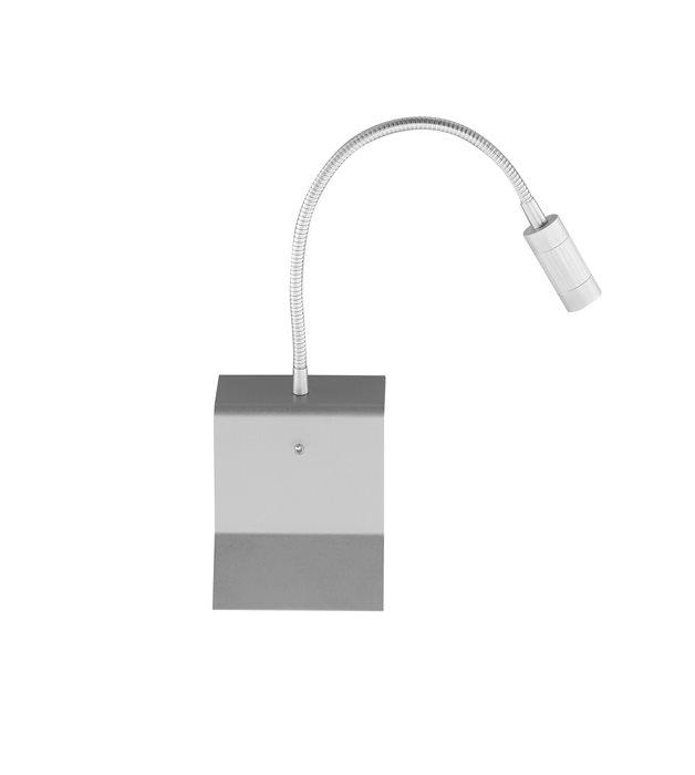 Lampenlux LED Wandlampe Wandleuchte Uno Leselampe Leseleuchte Downlight Schalter Schwanenhals Flexiarm Bettleuchte Bettlampe Nickel