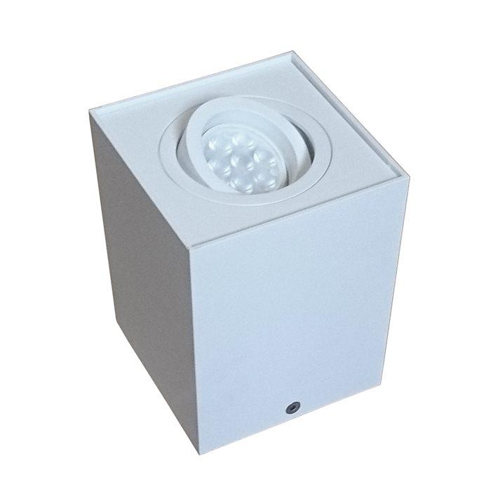 Lampenlux LED-Aufbaustrahler Aufbauleuchte Titus eckig Weiß schwenkbar 9.6x9.6cmEinbauleuchte Einbaulampe Einbauspot Spot Strahler Punktstrahler Aluminium Downlight Down Deckeneinbaustrahler Deckeneinbauleuchte
