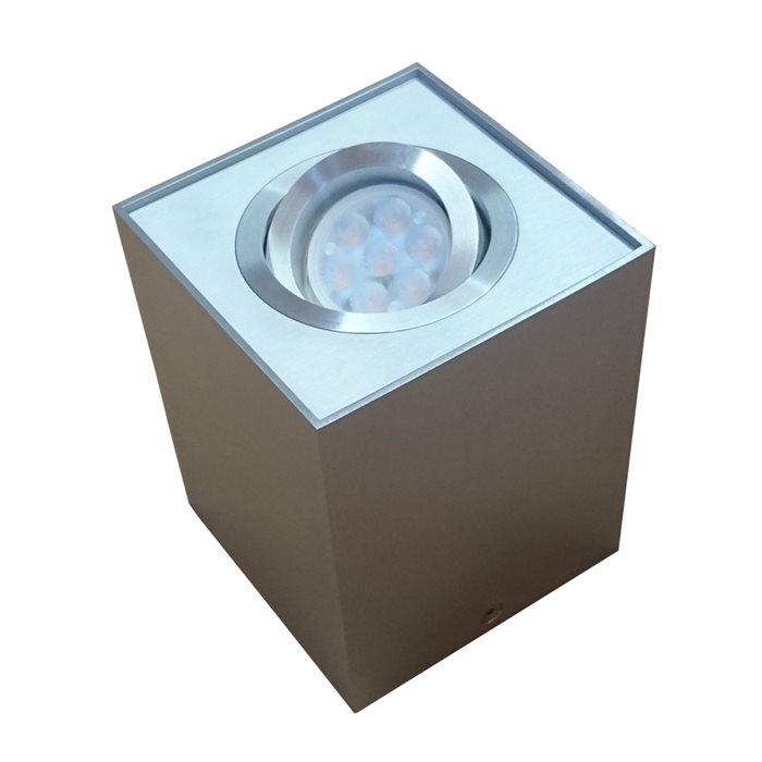 Lampenlux Aufbaustrahler Aufbauleuchte Titus eckig Aluminium schwenkbar 9.6x9.6 cm Einbauleuchte Einbaulampe Einbauspot Spot Strahler Punktstrahler Aluminium Downlight Down Deckeneinbaustrahler Deckeneinbauleuchte