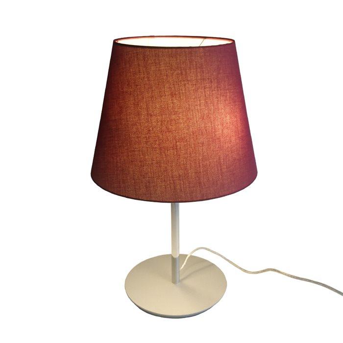 Lampenlux Tischlampe Maras Rot Nachttischlampe Bettleuchte Stoffschirm Stoffleuchte Stofflampe Chrom Deko 230V