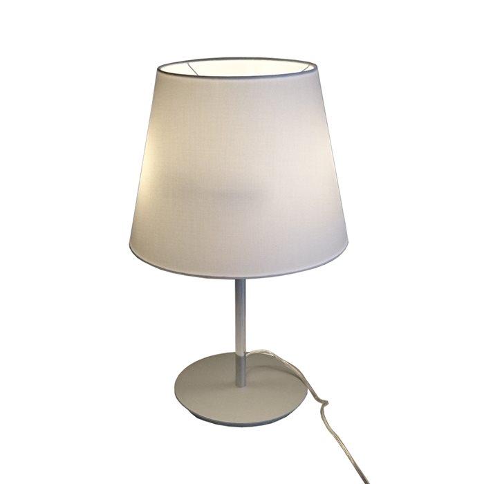 Lampenlux Tischlampe Maras Weiß Nachttischlampe Bettleuchte Stoffschirm Stoffleuchte Stofflampe Chrom Deko 230V