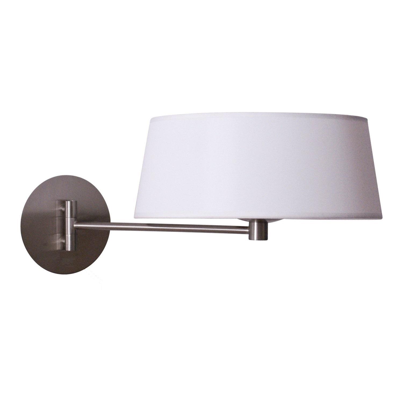 Lampenlux LED Wandlampe Wandleuchte Tombo Leselampe  Weiß Stoffschirm Bettleuchte Bettlampe Nickel gebürstet