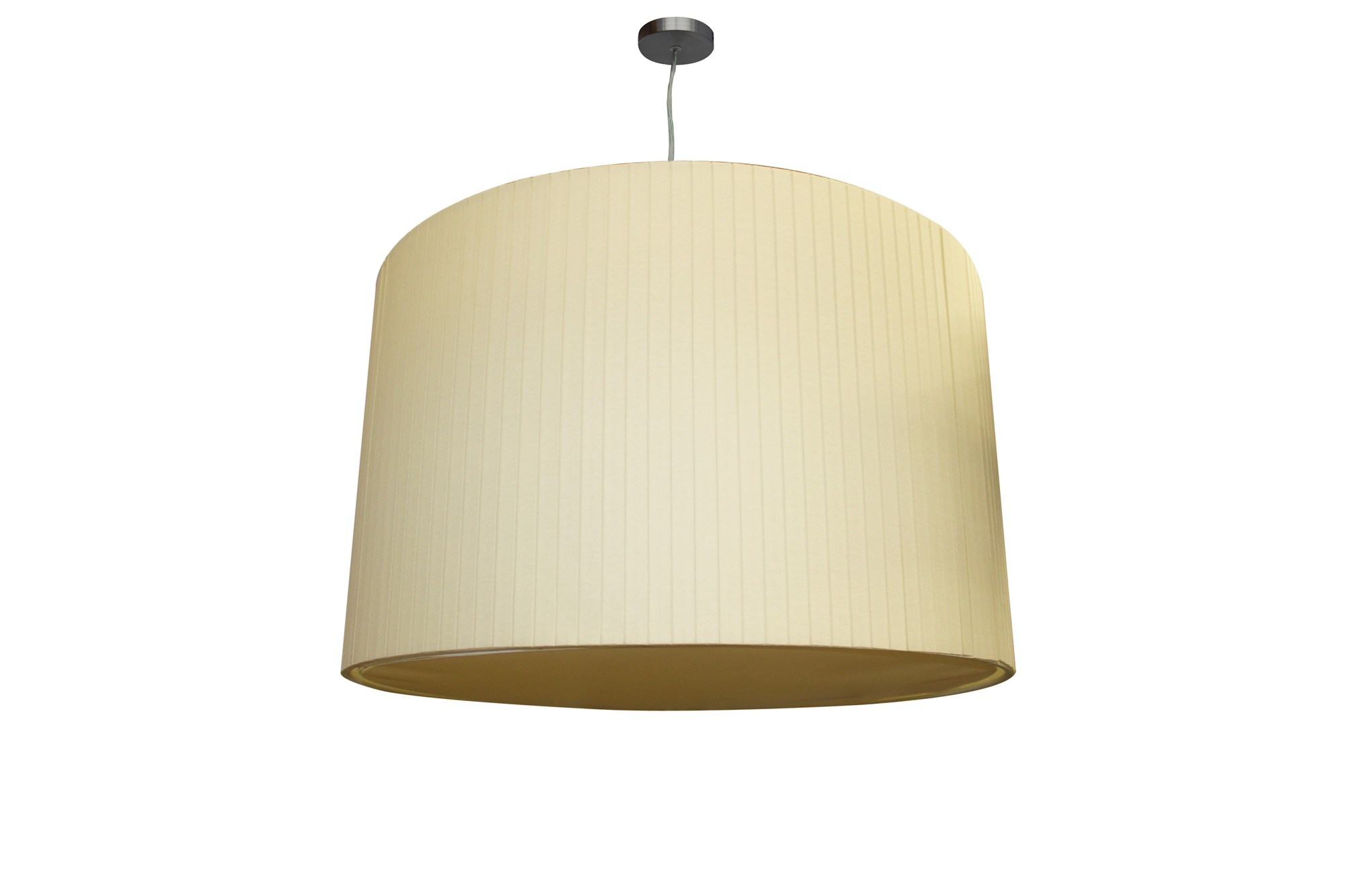 LED Deckenlampe Deckenleuchte Retro Boxplissee beige mit Baldachin chrom inkl. Diffusor 24W Ø: 50 cm