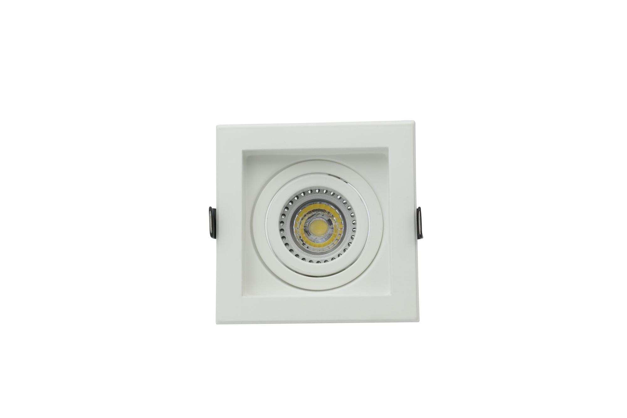 Lampenlux LED-Einbaustrahler Spot Scout eckig weiß/schwarz dreh- und schwenkbar 10.6x10.6cm