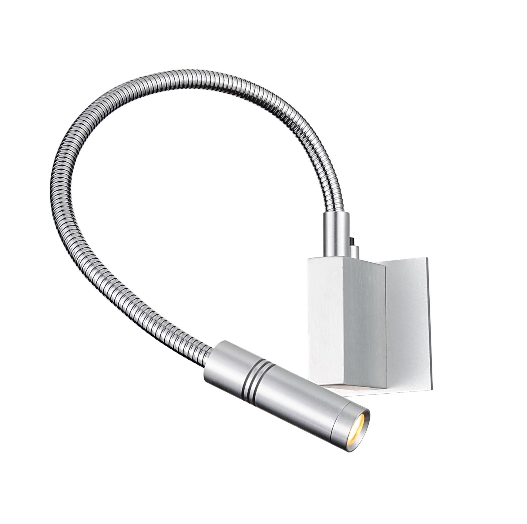 Lampenlux LED Bettlampe Pia Schwanenhals Wandlampe Leseleuchte Leselampe Schalter Nickel