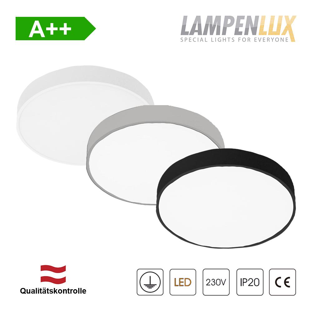 Lampenlux LED Aufbauleuchte rund 16W-48W Super Slim Rahmenlos IP20 mit Trafo 230V 40cm Silber/Weiß/Schwarz
