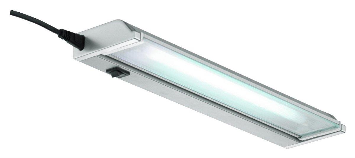 Lampenlux LED Unterbauleuchte Ajax Unterbaulampe Küchenlampe Küchenleuchte Aufbauleuchte Aufbaulampe Schwenkbar Silber Stromkabel 90cm