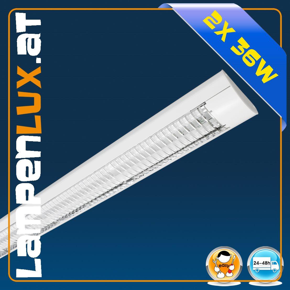 Weiße Raster Leuchte Decken Lampe Büro Arbeits Office 2x 36Watt inklusive LM