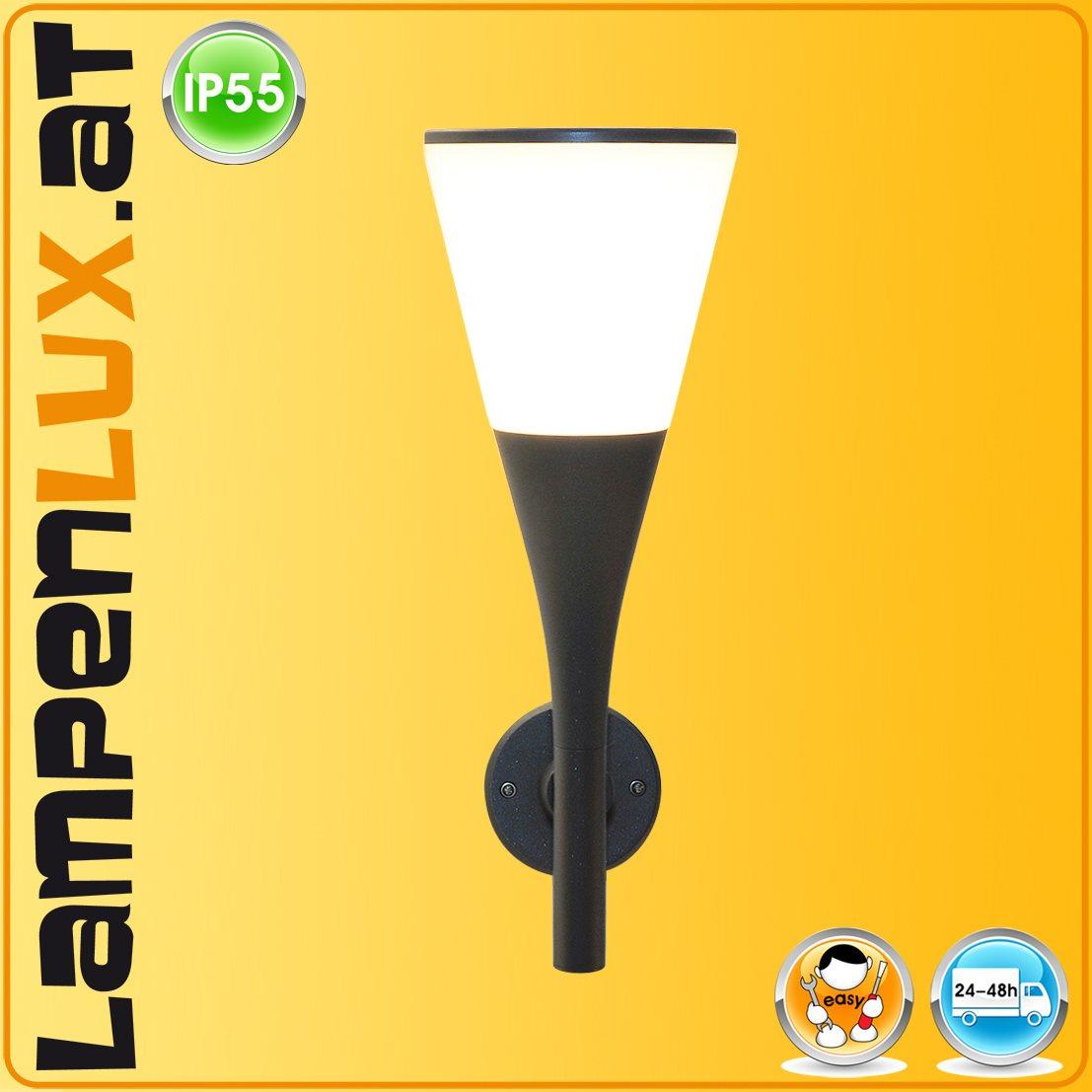 Lampenlux LED Aussenleuchte Esko IP55 Wandlampe Wandleuchte Fackel Aluminium Schwarz Fassung E27 Gartenlampe