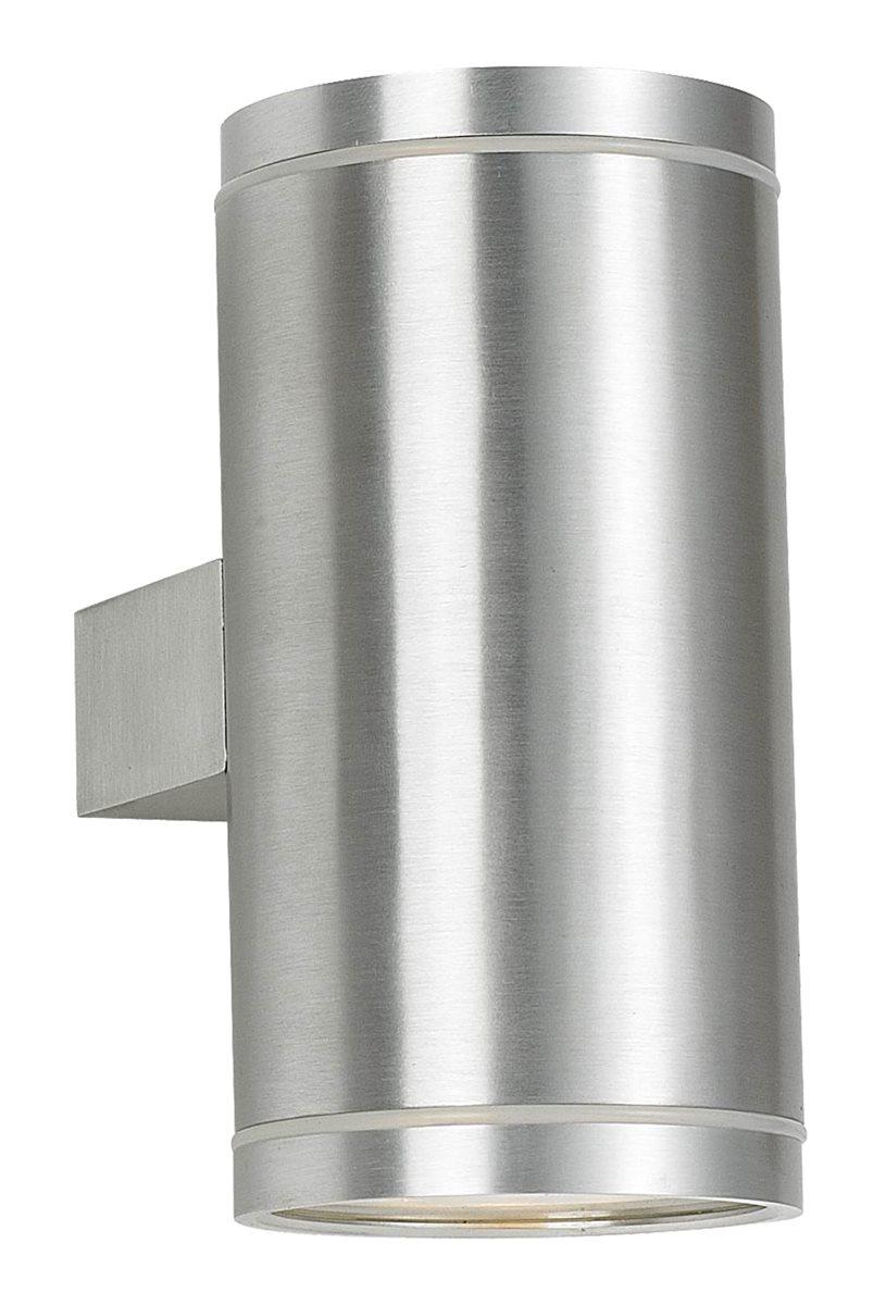 Led Außen Up/Down Light Wand Lampe Leuchte Karim Silber 16cm Aufbau Strahler 2x GU10 5W