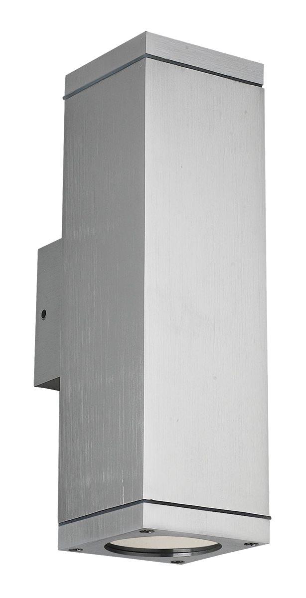 Lampenlux LED Außenleuchte Elton Außenlampe Wandlampe Wandleuchte Up Down Light 11,5x8x25,4cm IP54 GU10 Eckig Silber Tür Aluminium