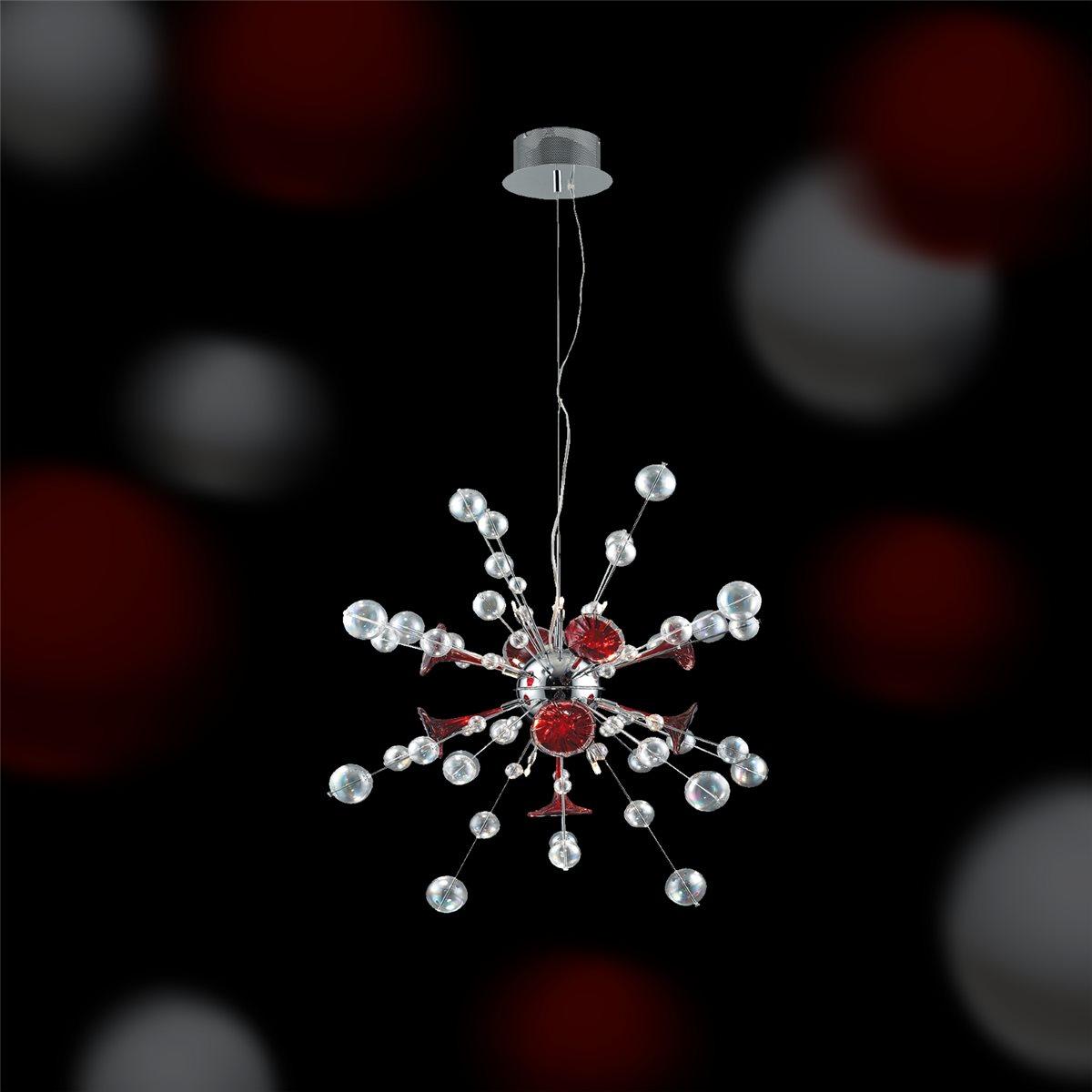 Lampenlux Design Pendelleuchte Zasa Hängelampe Glas Rot Weiß Höhenverstellbar