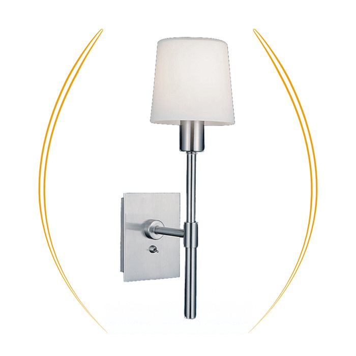 Lampenlux Bettlampe Racki Wandlampe Leseleuchte Leselampe Schalter Glas Nickel Aluminium
