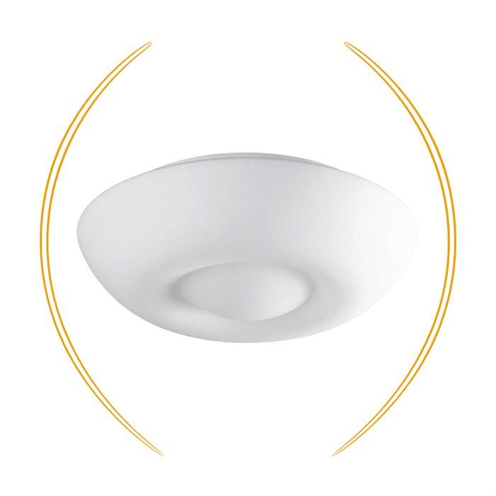 Lampenlux LED Deckenlampe Deckenleuchte Dingo Glasschirm weiss E27 4W Ø:32cm
