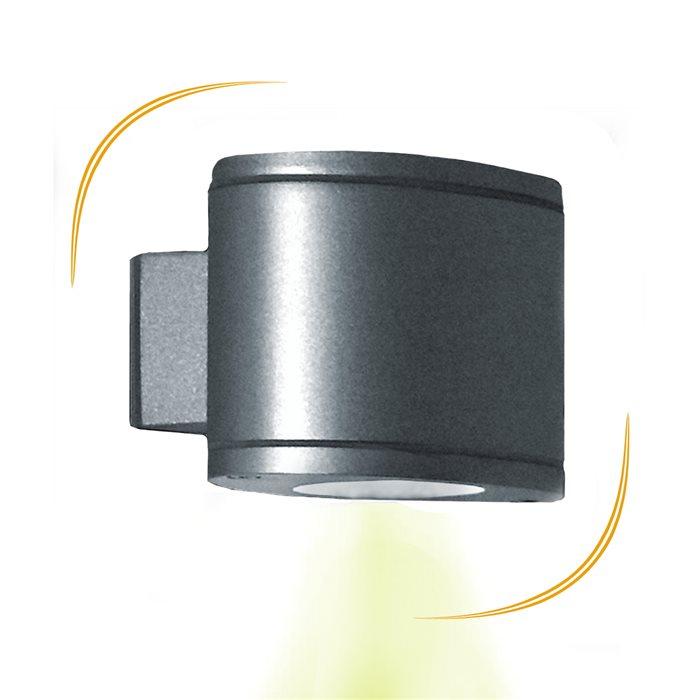 Lampenlux LED Aussenleuchte Erik Wandlampe Wandleuchte Up Down Oval Aluminium Grau 7W IP44