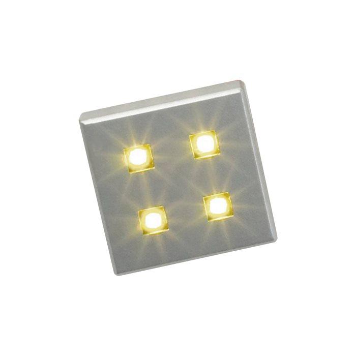 Lampenlux LED-Einbaustrahler Möbel Spot Ranco eckig silber 3.8x3.8cm 6er Set inkl Trafo + KabelEinbauleuchte Einbaulampe Einbauspot Spot Strahler Punktstrahler Aluminium Downlight Down Deckeneinbaustrahler Deckeneinbauleuchte