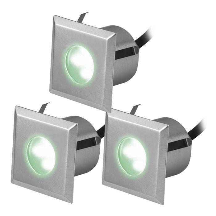 Lampenlux 3er SET LED Einbaustrahler Rimy Außenleuchte Spot Down Grün Trafo 230V