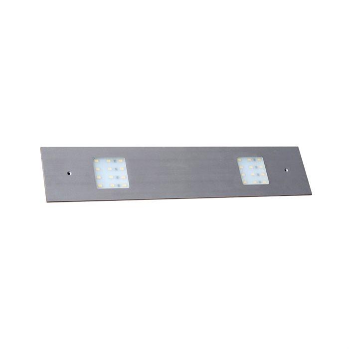 Lampenlux LED Unterbauleuchte Midge Küchenleuchte Küchenlampe Aufbauleuchte Aufbaulampe sehr flach Aluminium 230V 10W Silber Länge 41cm 2-flammig 12V