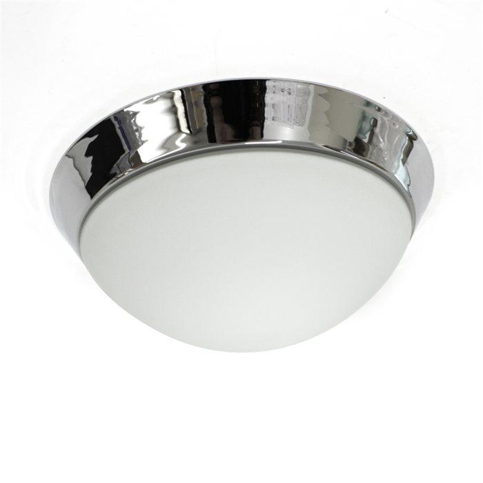 Lampenlux Aussenleuchte Dodo IP44 230V Deckenlampe Badlampe Rund Glas Fassung E27 Ø28cm Terasse Chrom Badezimmer Flur Deckenleuchte