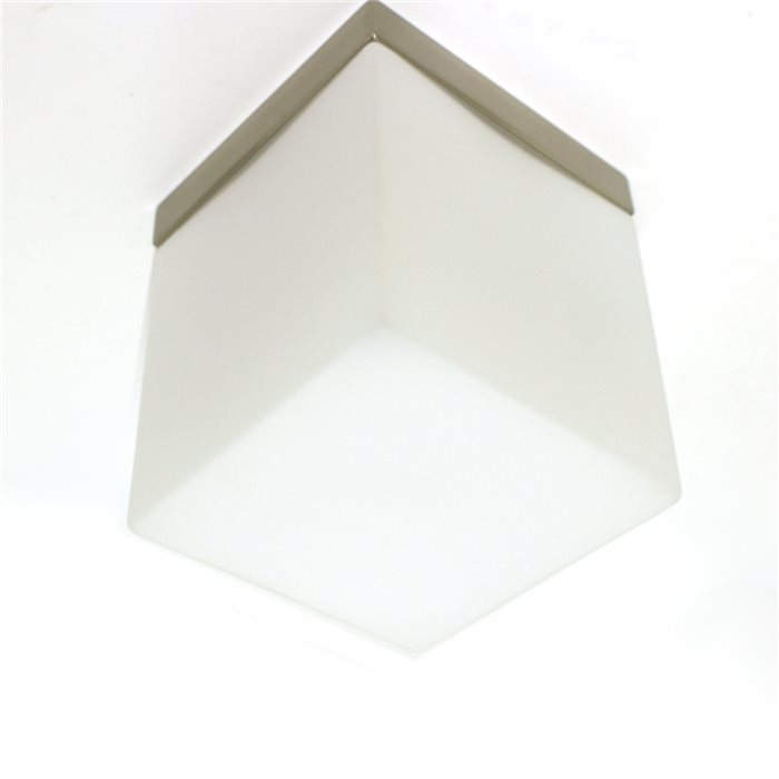 Lampenlux Decken Lampe Leuchte Dave Glas Eckig Weiss Matt Wohnzimmer Flur 12x12cm 230V