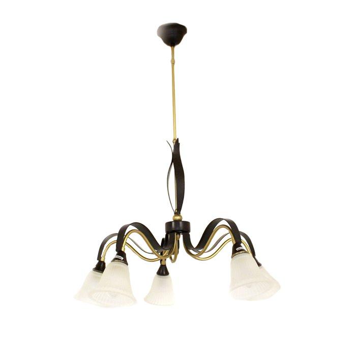 Lampenlux Pendellampe Hängeleuchte Zillo Luster grün-bronze E14 5-Flammig Glas Antik