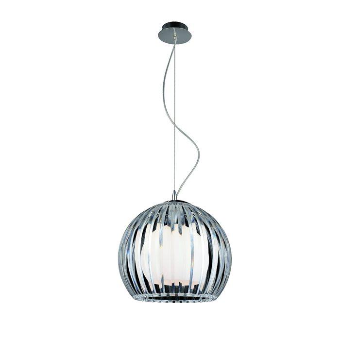 Lampenlux LED Pendellampe Pendelleuchte Bonzo Glasschirm Weiß / Klar Ø 46cm Glas Schirm