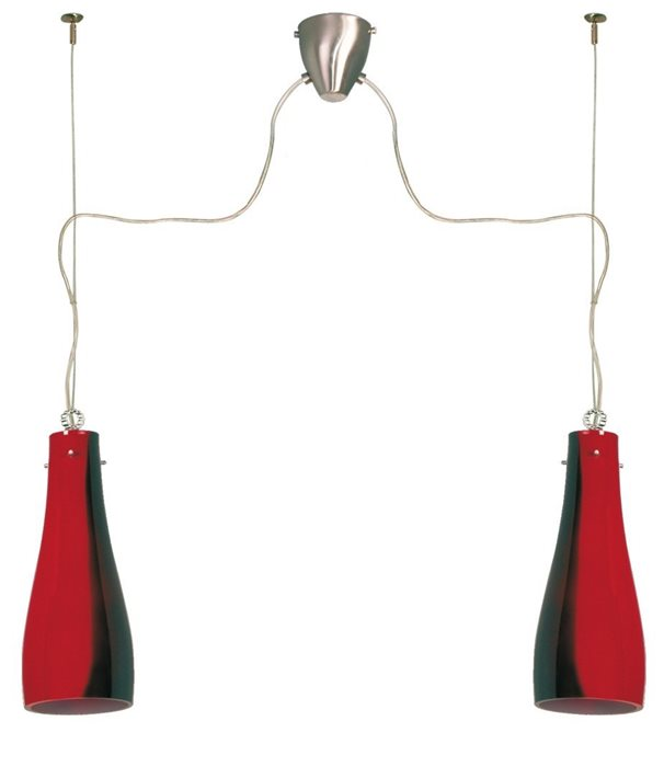 Lampenlux LED Pendellampe Pendelleuchte Benito Glasschirm Schwarz und Rot E27 zweiflammig