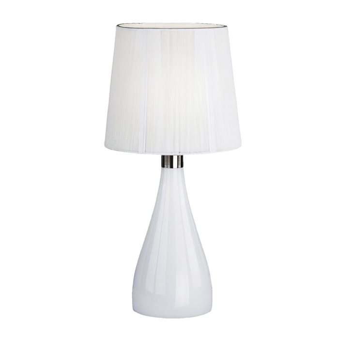 Lampenlux Tischeuchte Nachttischlampe TAIRA weiß Stoffschirm 230V E14 mit 1m  Kabel