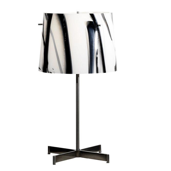 Lampenlux Tischlampe Tischleuchte Georg Glasschirm schwarz/weiß E27 H:50cm