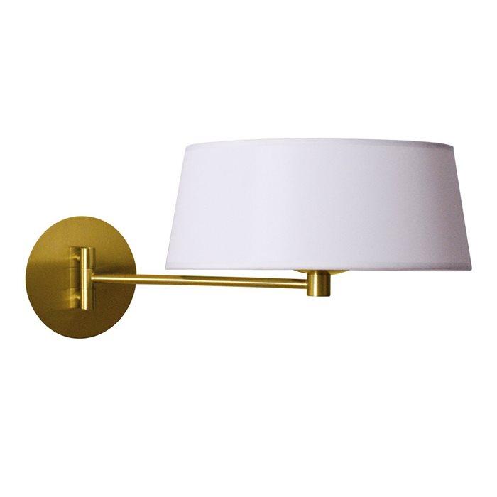 Lampenlux LED Wandlampe Guido Bettlampe Weiß Stofflampe Stoffleuchte Gold Leseleuchte Leselicht Schalter Wandleuchte