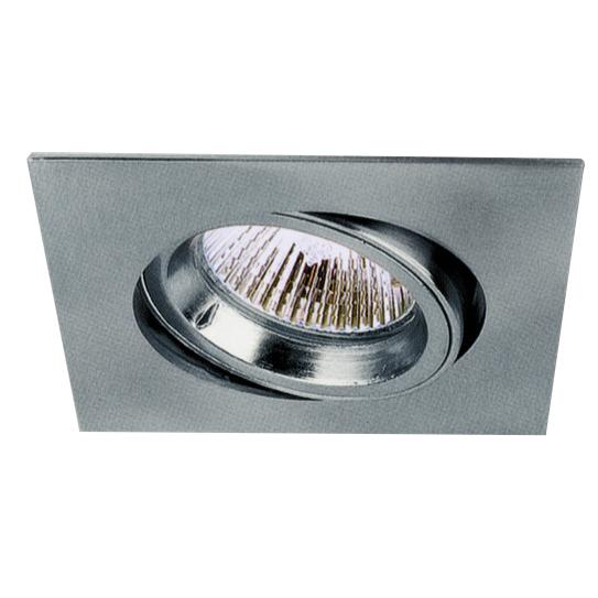 Lampenlux LED-Einbaustrahler Spot Snap eckig Chrom schwenkbar 8.2x8.2cm 230V GU10 rostfreiEinbauleuchte Einbaulampe Einbauspot Spot Strahler Punktstrahler Aluminium Downlight Down Deckeneinbaustrahler Deckeneinbauleuchte