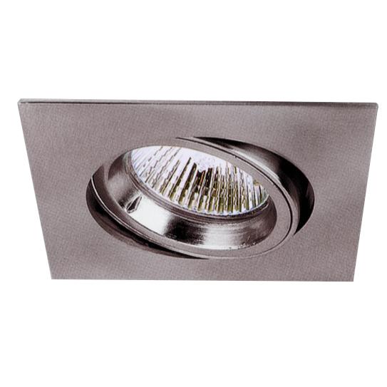 Lampenlux LED-Einbaustrahler Spot Snap eckig Nickel sat. schwenkbar 8.2x8.2cm 230V GU10 rostfreiEinbauleuchte Einbaulampe Einbauspot Spot Strahler Punktstrahler Aluminium Downlight Down Deckeneinbaustrahler Deckeneinbauleuchte