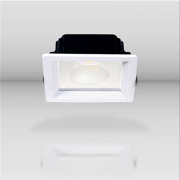 Lampenlux LED Einbaustrahler Spencer IP44 230V Aussenleuchte Eckig 14-18cm Weiß Tagweiß Warmweiß Aluminium Spot Strahler