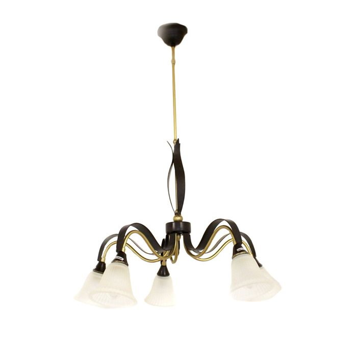 Lampenlux Pendellampe Hängeleuchte Zillo Luster rost-braun E14 5-Flammig Glas Antik