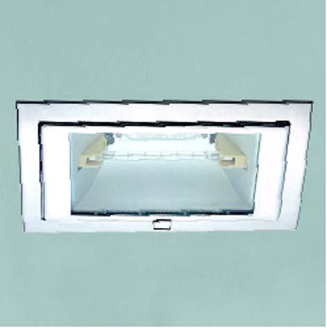 Lampenlux Einbaustrahler Spot Tiram eckig Nicke/weiß 60° schwenkbar 23.1x14.6cm rostfrei
