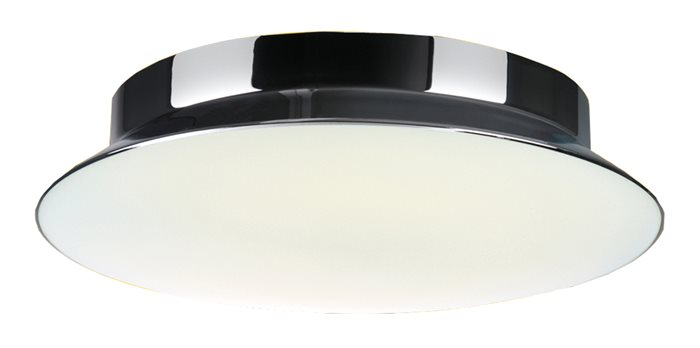 Lampenlux Energiespar Deckenlampe Zeno Opalglas Chrom glänzend rund Ø 30cm/42cm