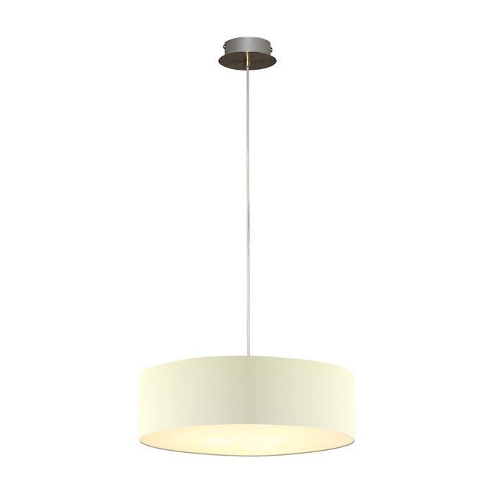 Lampenlux LED Pendellampe Pendelleuchte Bango Stoffschirm Beige Montur Silber Ø45 cm