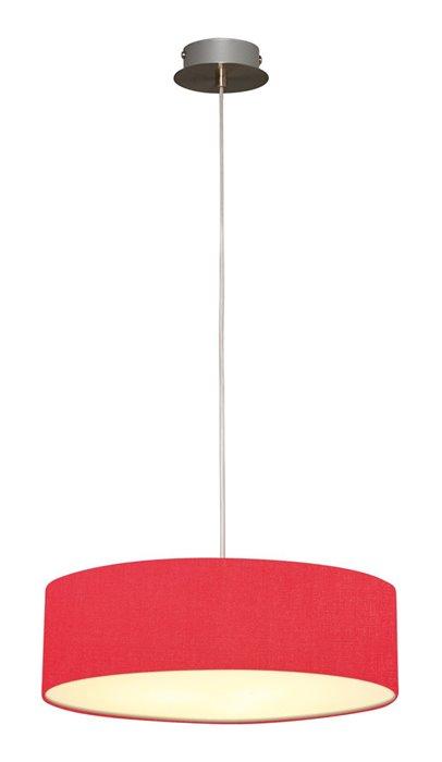 Lampenlux LED Pendellampe Pendelleuchte Bango Stoffschirm Rot Montur Silber Ø45 cm