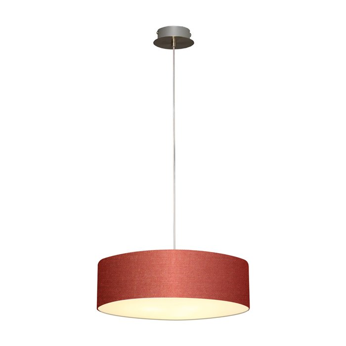 Lampenlux LED Pendellampe Pendelleuchte Bango Stoffschirm Dunkelrot Montur Silber Ø45 cm