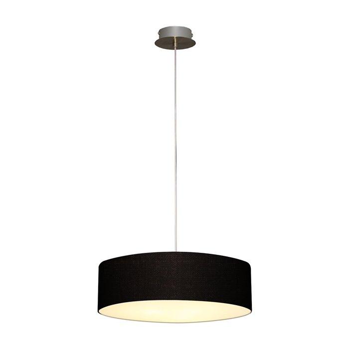 Lampenlux LED Pendellampe Pendelleuchte Bango Stoffschirm Schwarz Montur Silber Ø60 cm