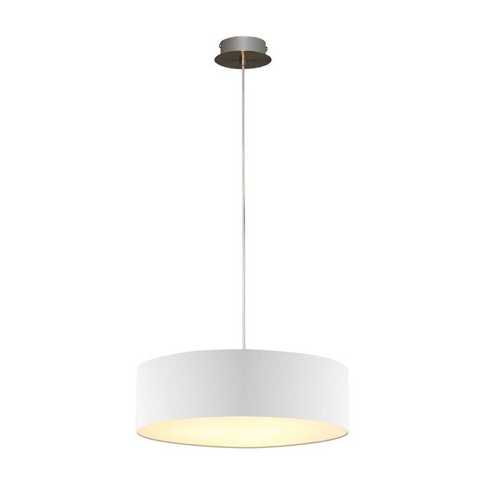 Lampenlux LED Pendellampe Pendelleuchte Bango Stoffschirm Weiß Montur Silber Ø45 cm