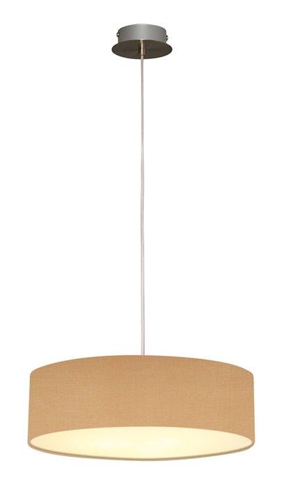 Lampenlux LED Pendellampe Pendelleuchte Bango Stoffschirm Natur Montur Silber Ø45 cm