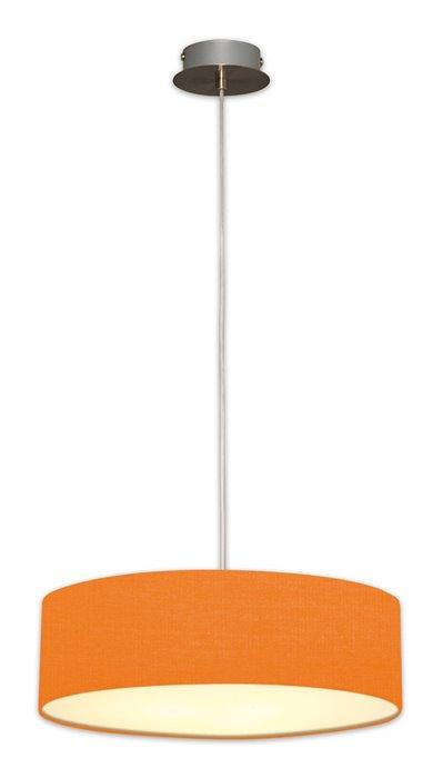 Lampenlux LED Pendellampe Pendelleuchte Bango Stoffschirm Orange Montur Silber Ø45 cm