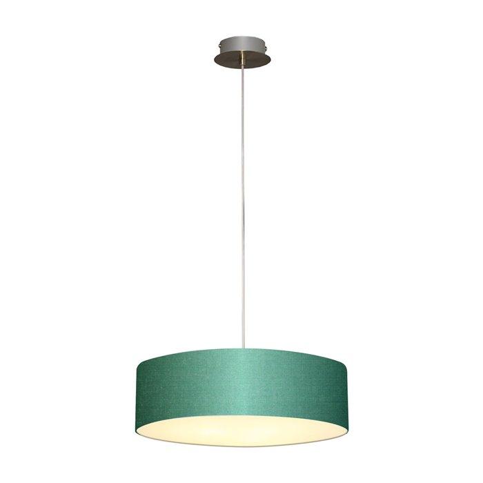 Lampenlux LED Pendellampe Pendelleuchte Bango Stoffschirm Dunkelgrün Montur Silber Ø45 cm