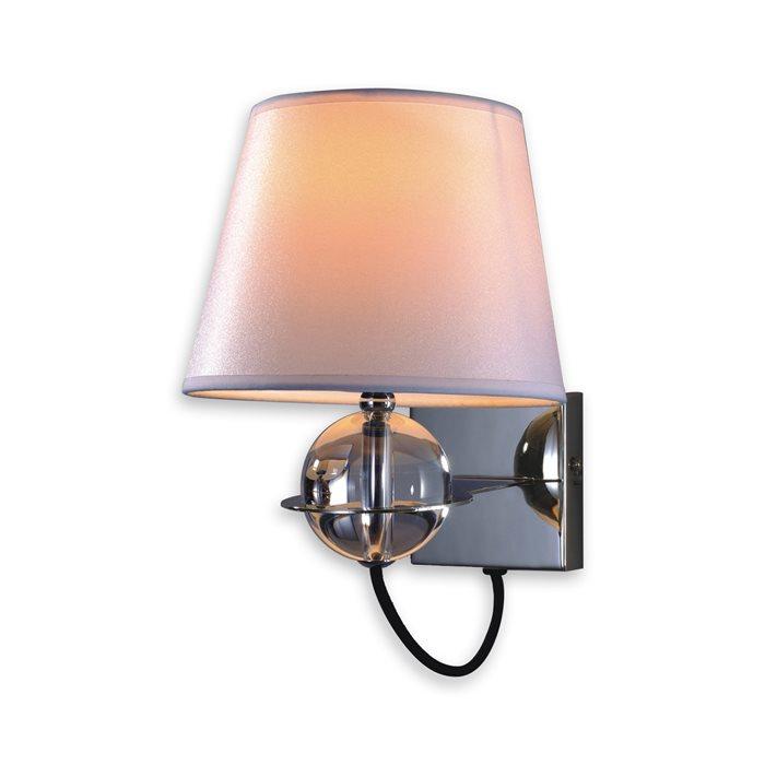 Lampenlux LED Wandlampe Onara Spiegelleuchte Deko Bilderlampe Stoff Glaskugel Chrom Nickel