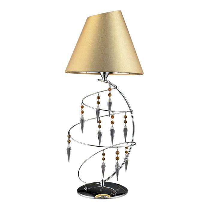 Lampenlux Tischlampe Belle Bettleuchte Gold Kristall Deko Chrom Glasperlen 230V